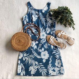 Vintage Pineapple Moon Silk Hawaiian Print Dress
